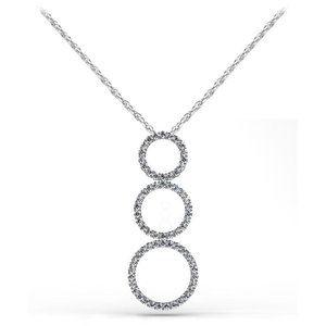 Jewelry - Triple 8 ct round cut diamonds circle pendant neck